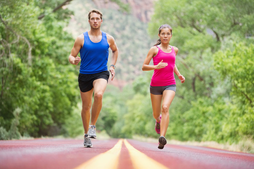 healthy couple of runners