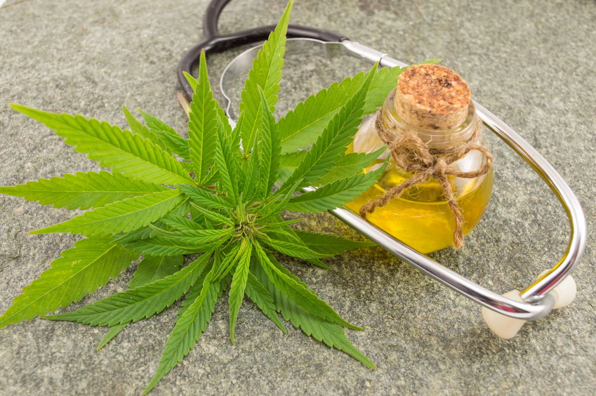 marijuana, cannabis oil and stethoscope